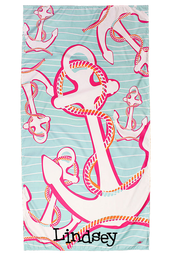 Aruba Blue And Hot Pink Lauderdale Microfiber Beach Towel