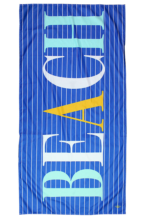 Royal, Aruba Blue, And Yellow Walton Beach Microfiber Beach Towel