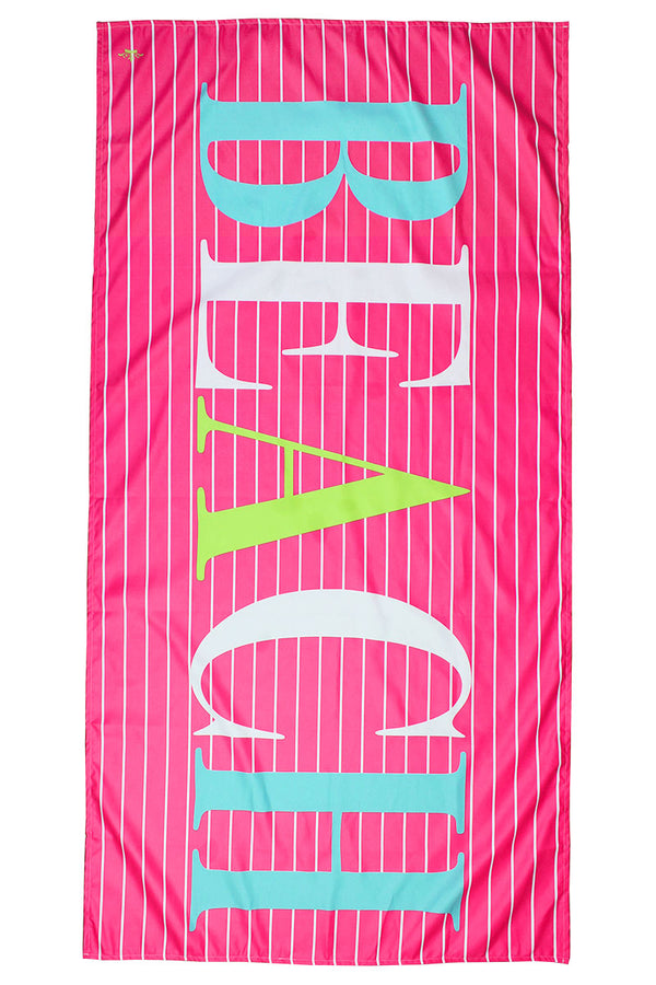 Hot Pink, Aruba Blue, And Lime Walton Beach Microfiber Beach Towel