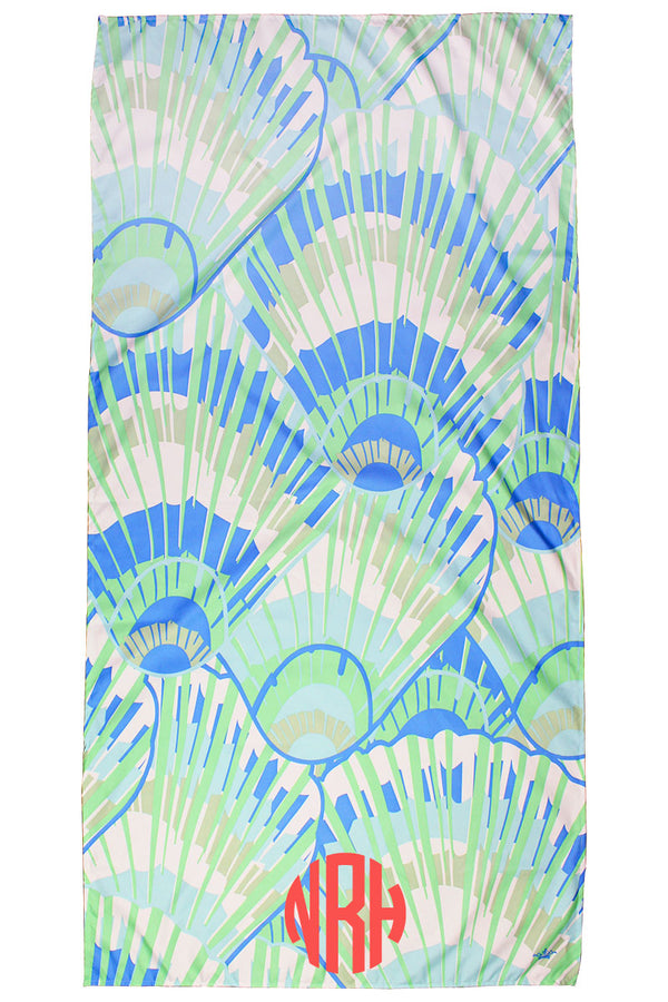 Palace Blue And Pastel Green Seashell Microfiber Beach Towel