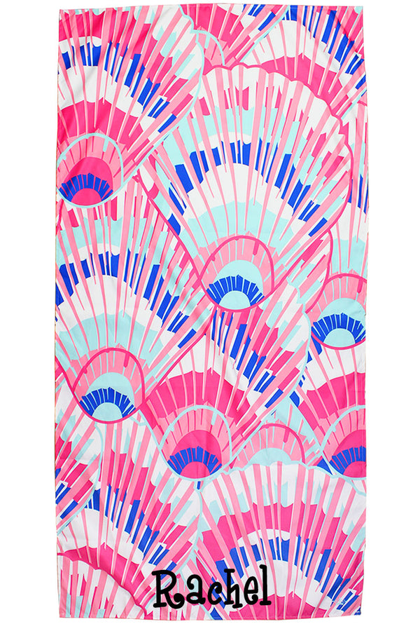 Hot Pink And Lapis Seashell Microfiber Beach Towel