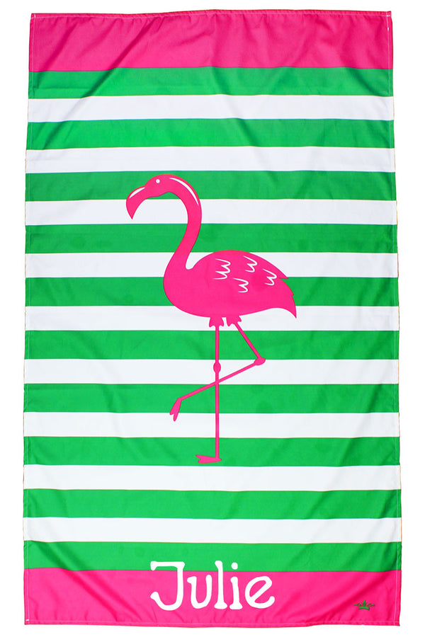 Kid's Kelly And Hot Pink Stripe Microfiber Beach Towel