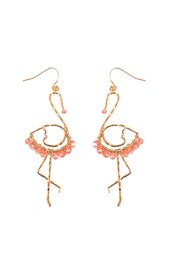 Pink Beaded Goldtone Flamingo Earrings