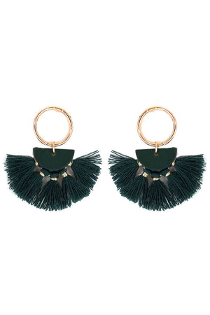Goldtone Ring and Green Half Moon Tassel Earrings