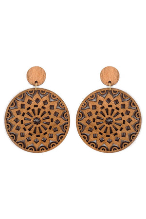 Mandala Flower Filigree Wood Disk Earrings