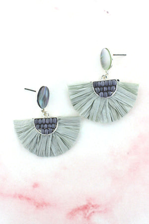 Gray Shell Disk with Wood Bead and Raffia Fan Earrings
