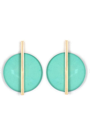 Green Acrylic Disk with Matte Goldtone Bar Earrings