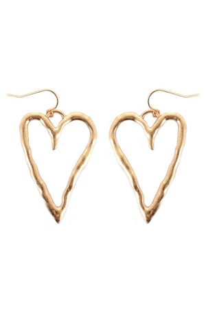 Worn Goldtone Open Heart Earrings