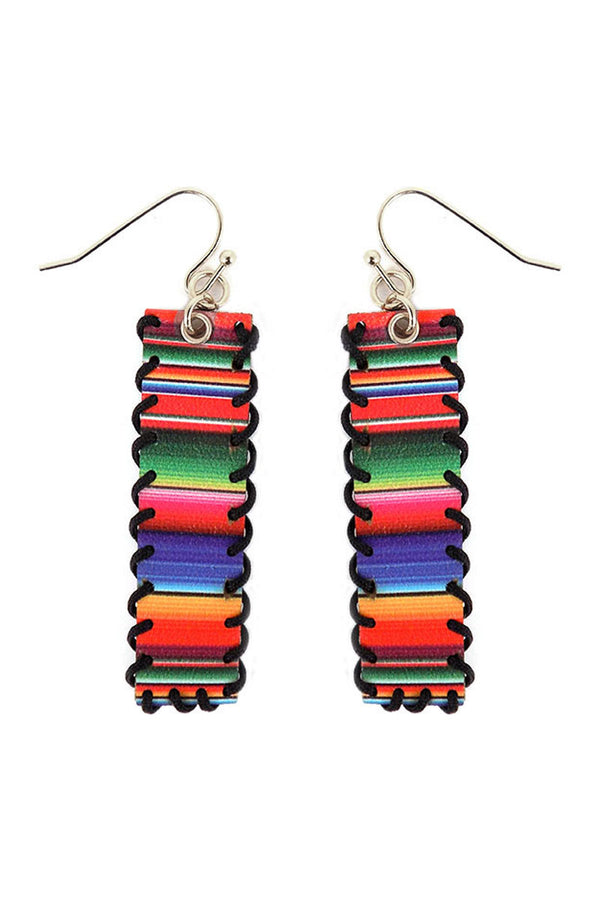 Serape Whipstitch Faux Leather Bar Earrings