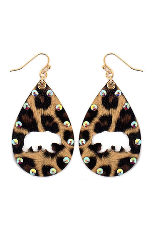 Crystal Trimmed Cut-Out Bear Leopard Teardrop Earrings