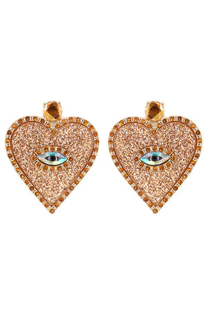 Gold Crystal Trimmed Glitter Evil Eye Heart Earrings