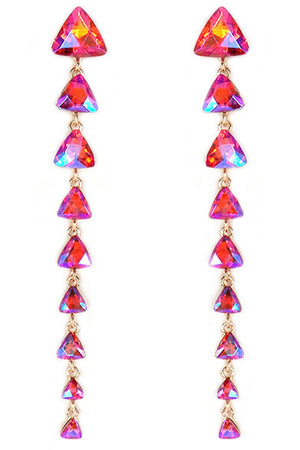 Dangling Iridescent Red Graduated Triangle Gemstone Earrings