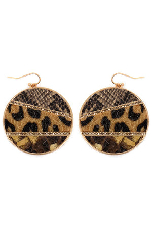 Crystal Striped Leopard and Snakeskin Disk Earrings