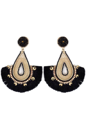 Black Beaded Goldtone Filigree Fringe Teardrop Earrings