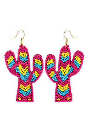 Fuchsia Tri-Color Seed Bead Chevron Cactus Earrings