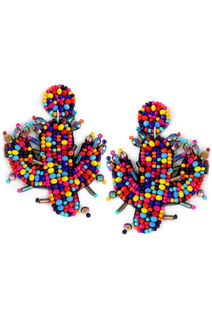Multi-Color Faceted and Seed Bead Cactus Earrings
