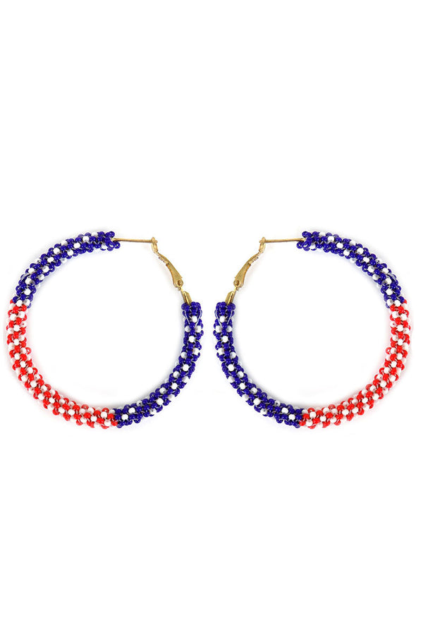 Patriotic Seed Bead Hoop Earrings
