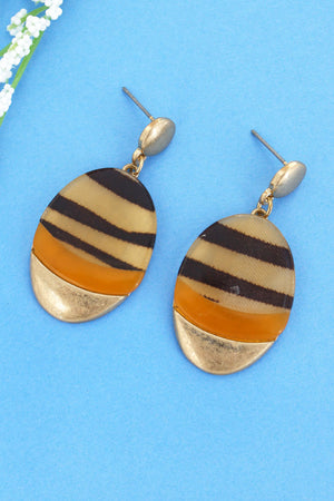 Tiger, Amber, and Goldtone Oval Drop Earrings