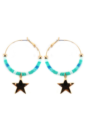 Turquoise Ombre Vinyl Disk with Star Charm Hoop Earrings