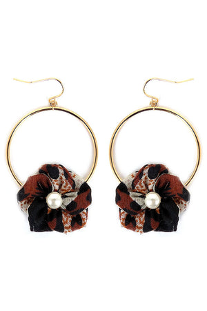 Leopard Fabric Flower Goldtone Hoop Earrings