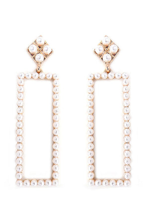 Pearl Rectangle Drop Stud Earrings