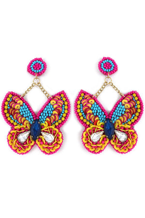 Fuchsia Multi-Color Embellished Butterfly Earrings