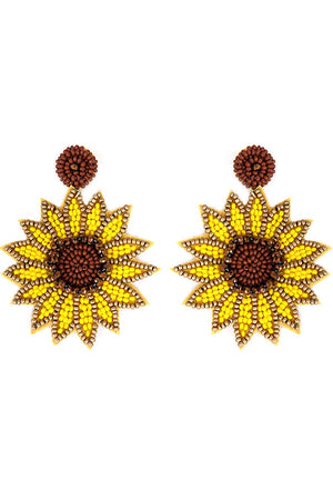 Yellow and Brown Seed Bead Sunflower Earrings
