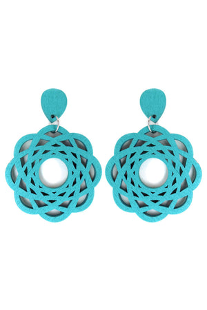 Turquoise Flower Filigree Wood Earrings