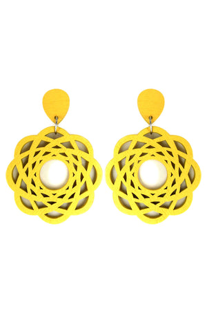 Yellow Flower Filigree Wood Earrings