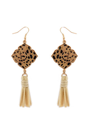 Cheetah Cork Quatrefoil and Ivory Tassel Earrings
