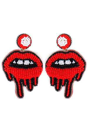 Red and Black Seed Bead Dripping Lip Earrings