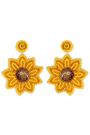 Yellow Seed Bead and Sequin Sunflower Earrings