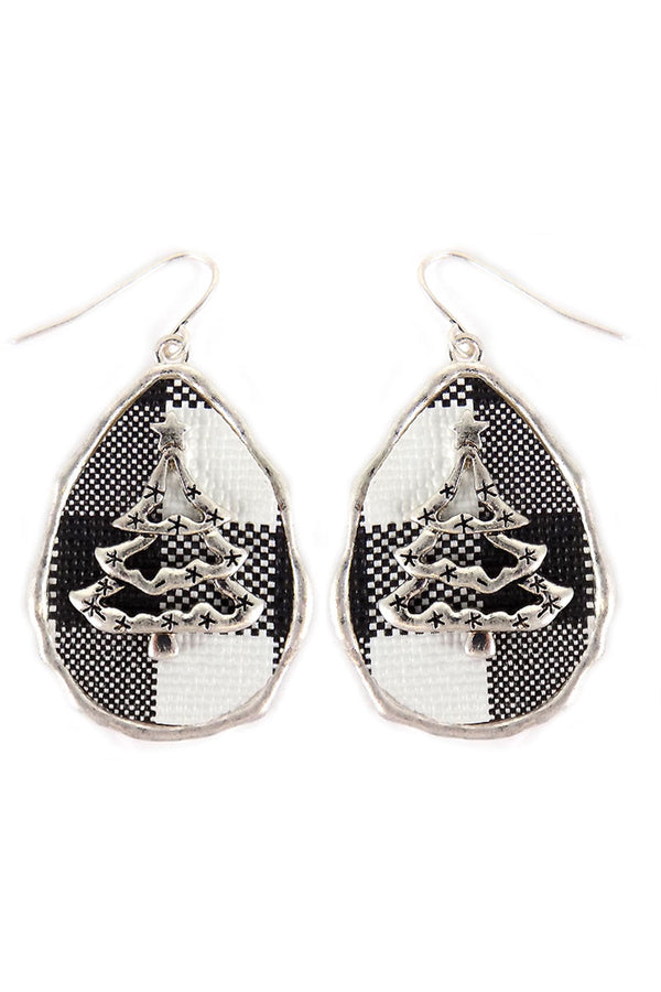 Black Buffalo Plaid Christmas Tree Teardrop Earrings