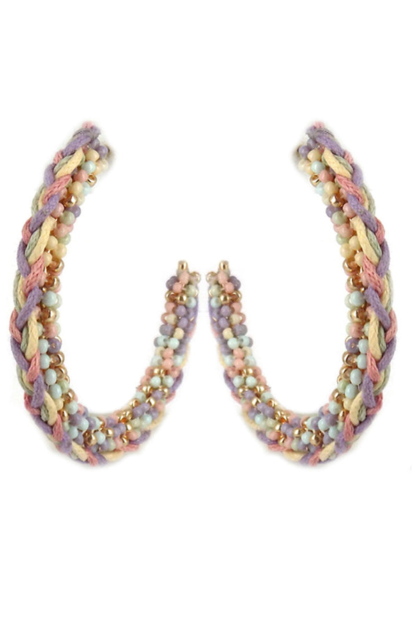 Multi-Color Braided Seed Bead Hoop Earrings