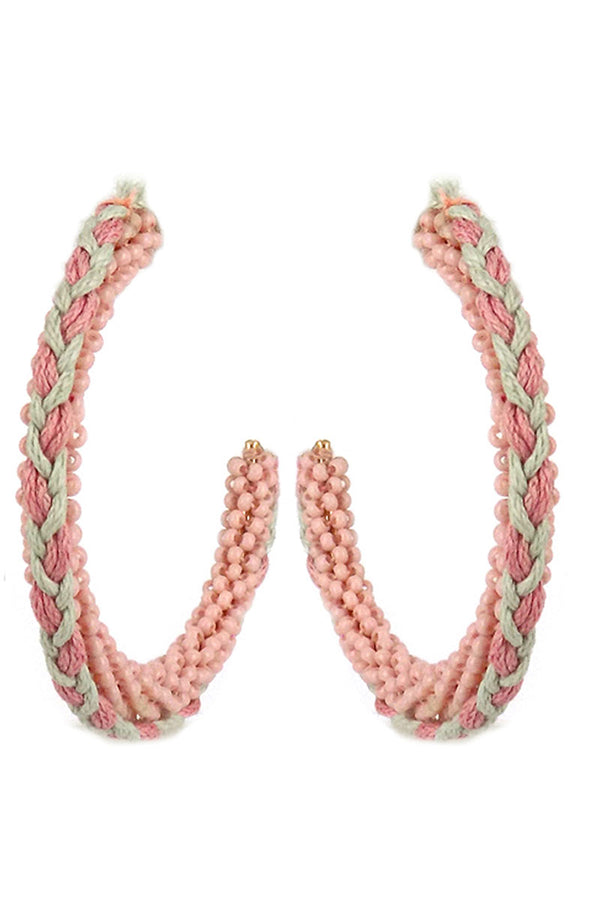 Pink Braided Seed Bead Hoop Earrings