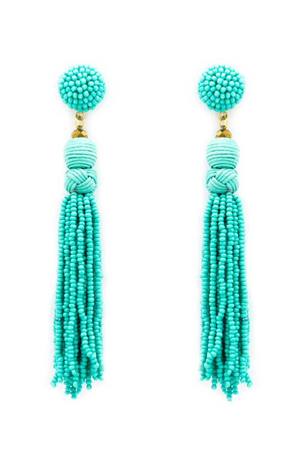 Turquoise Braided Seed Bead Tassel Earrings
