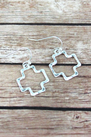 Crave Small Hammered Silvertone Square Cross Earrings