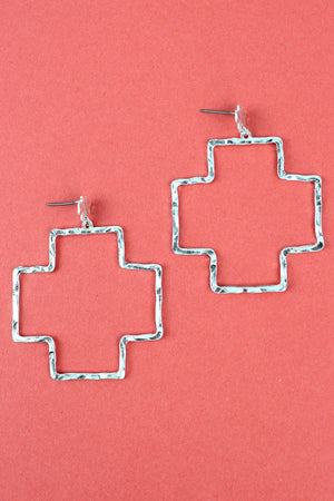 Crave Hammered Silvertone Double Square Cross Drop Stud Earrings