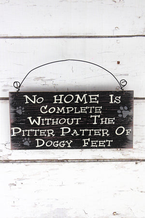 4.5 x 9.5 'Pitter Patter Of Doggy Feet' Wood Wall Sign