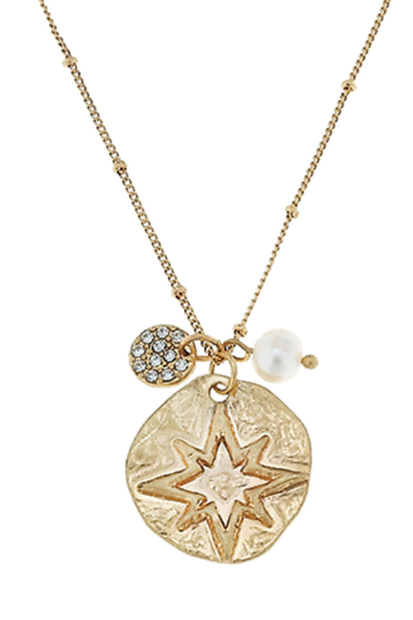 SALE! Goldtone North Star and Crystal Disk Charm Necklace