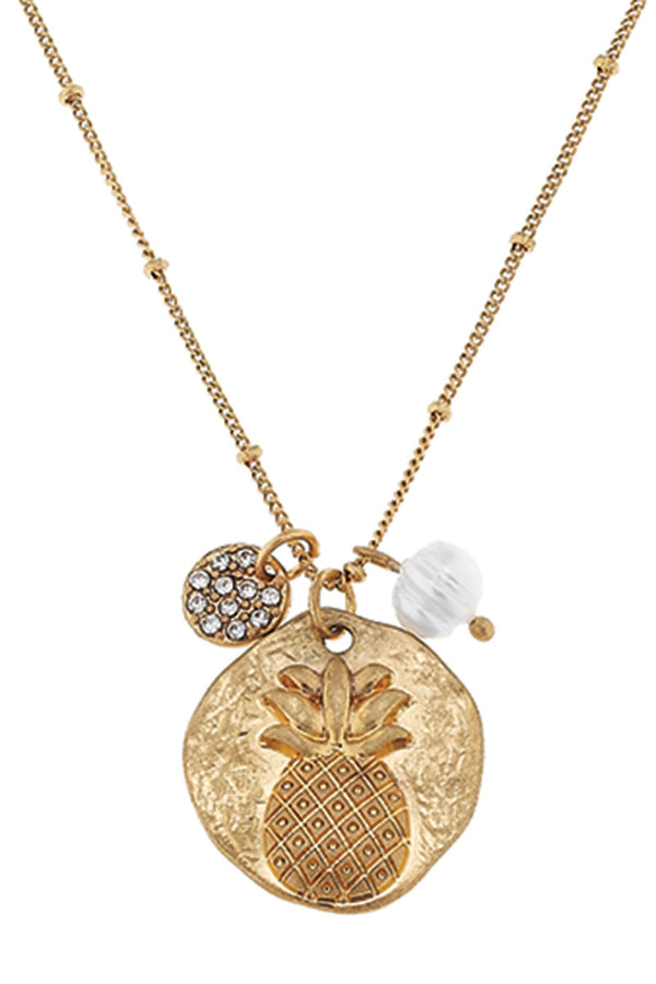 SALE! Goldtone Pineapple and Crystal Disk Charm Necklace