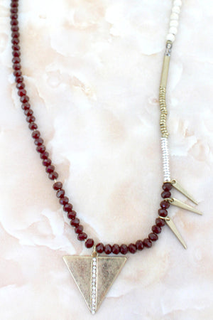 Crystal Stripe Triangle & Spear Burgundy Beaded Necklace