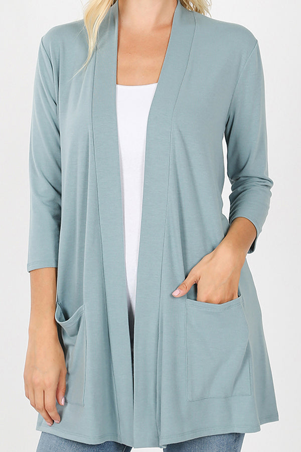 Blue Gray Slouchy Open Cardigan with Pockets