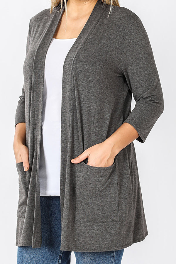 Plus Size Charcoal Slouchy Open Cardigan with Pockets