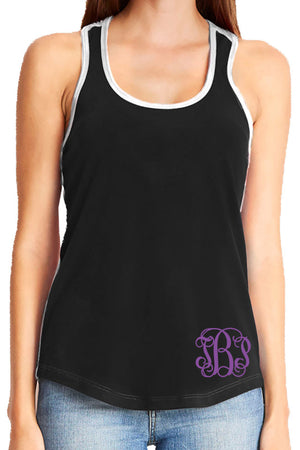 Next Level Ladies' Colorblock Racerback Tank, Black/White *Personalize It!