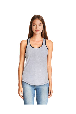 Next Level Ladies' Colorblock Racerback Tank, Heather Gray/Black #NL1534 *Personalize It!