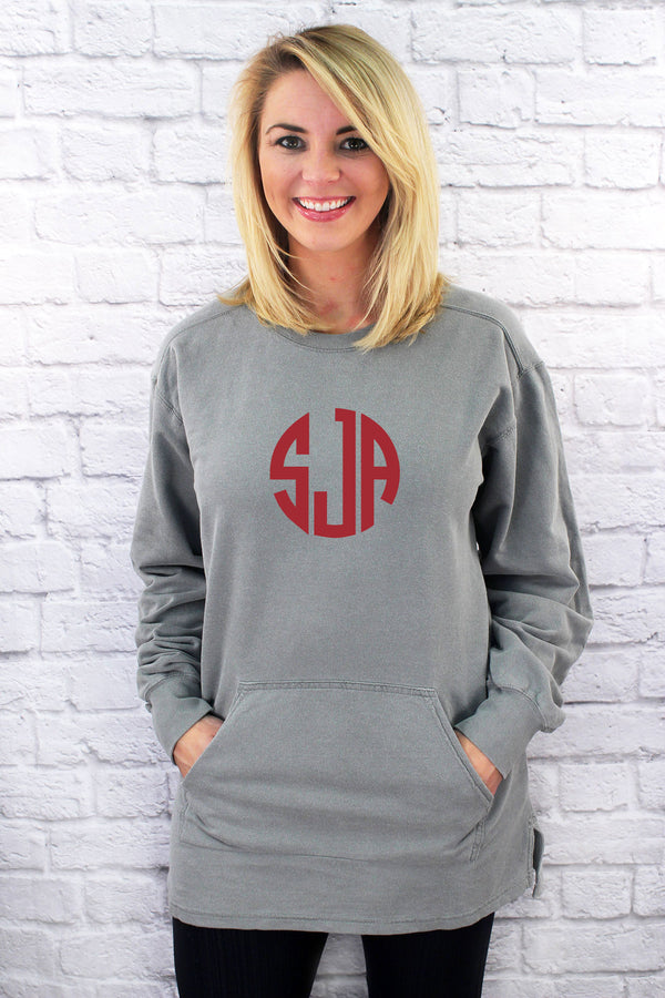 Large Vinyl Monogram Comfort Colors Adult French Terry Crewneck *Customizable