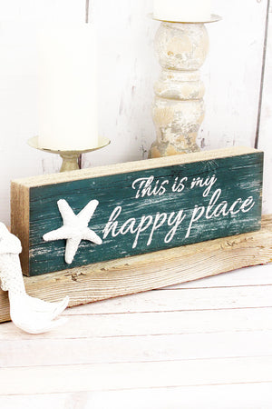 4.25 x 13.75 'Happy Place' Wood Tabletop/Wall Sign