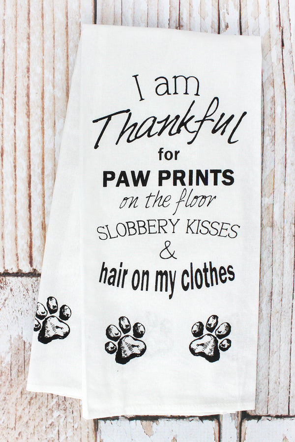 'Thankful for Paw Prints...' Tea Towel