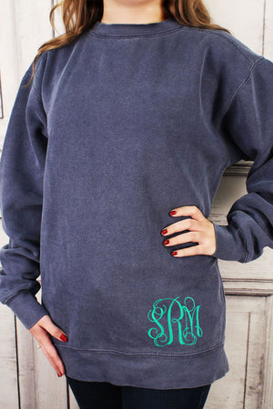 Monogrammed Hip Comfort Colors Adult Crew-Neck Sweatshirt #1566 *Customizable